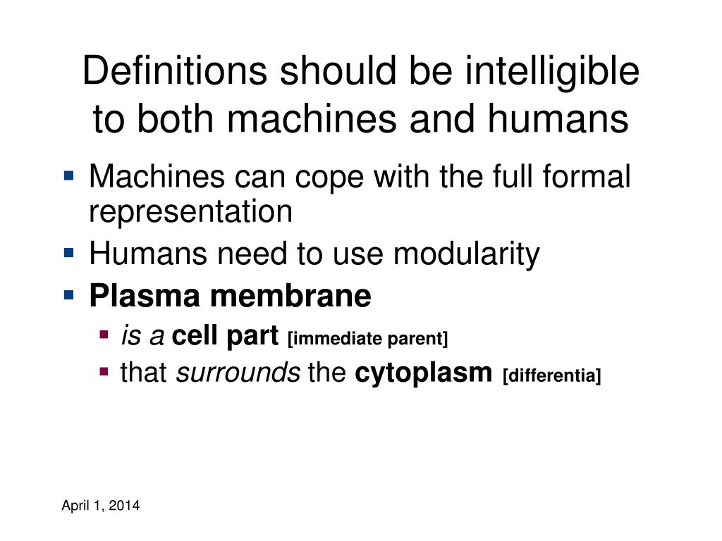 Definitions should be intelligible to both machines and humans