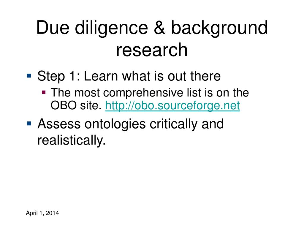 Due diligence & background research