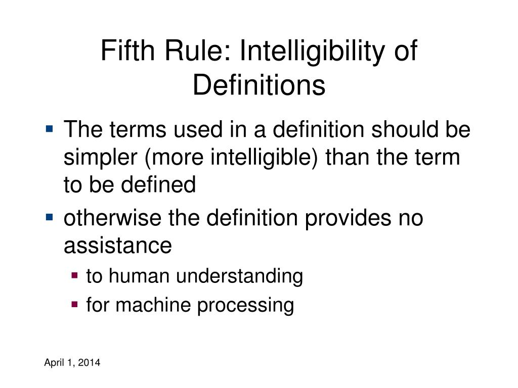 Fifth Rule: Intelligibility of Definitions