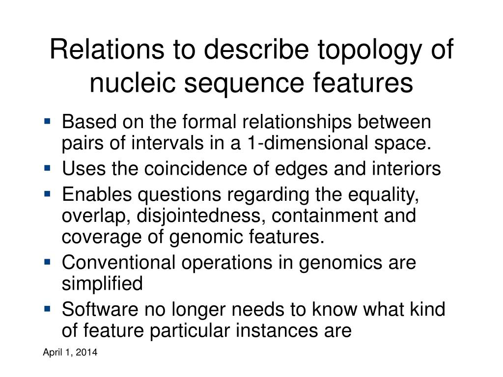 Relations to describe topology of nucleic sequence features