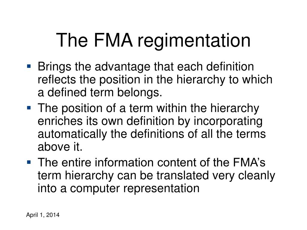The FMA regimentation
