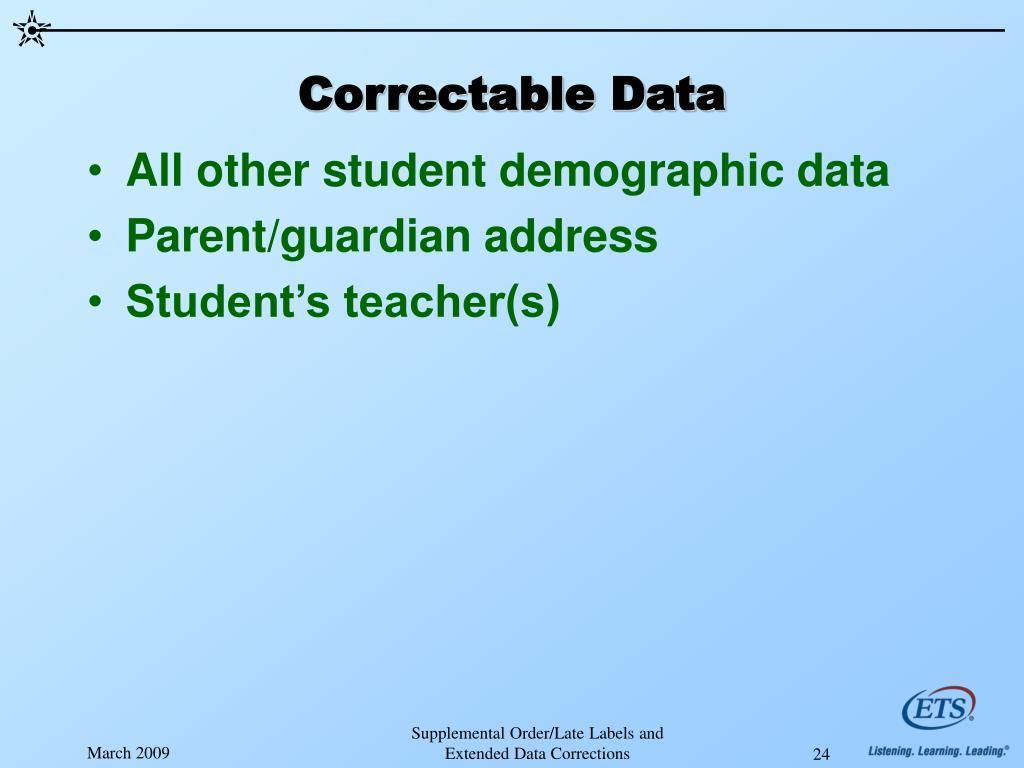 Correctable Data