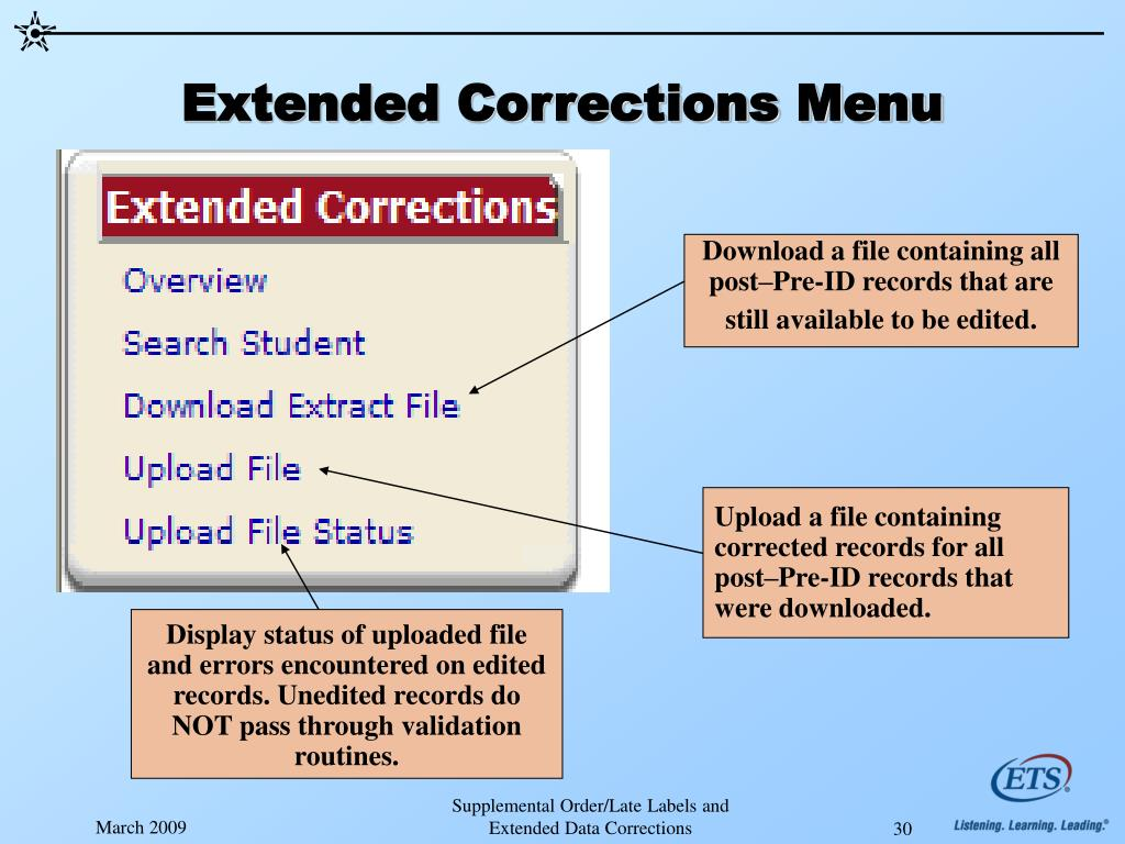 Extended Corrections Menu