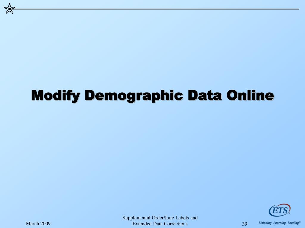 Modify Demographic Data Online