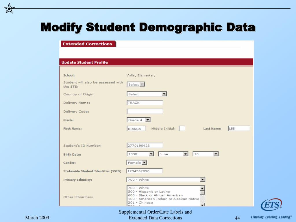 Modify Student Demographic Data
