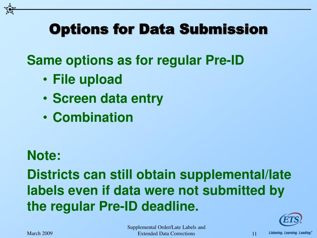 Options for Data Submission