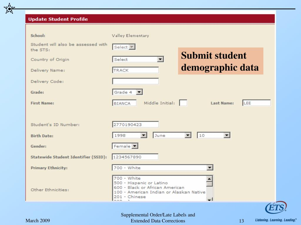 Submit student demographic data
