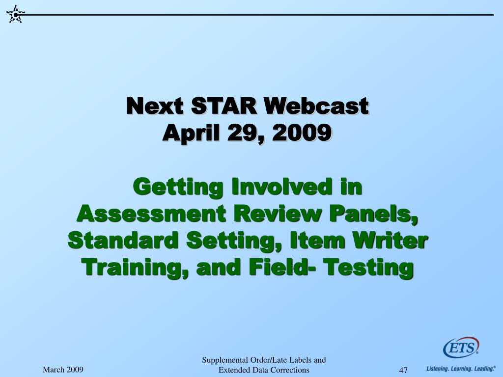 Next STAR Webcast