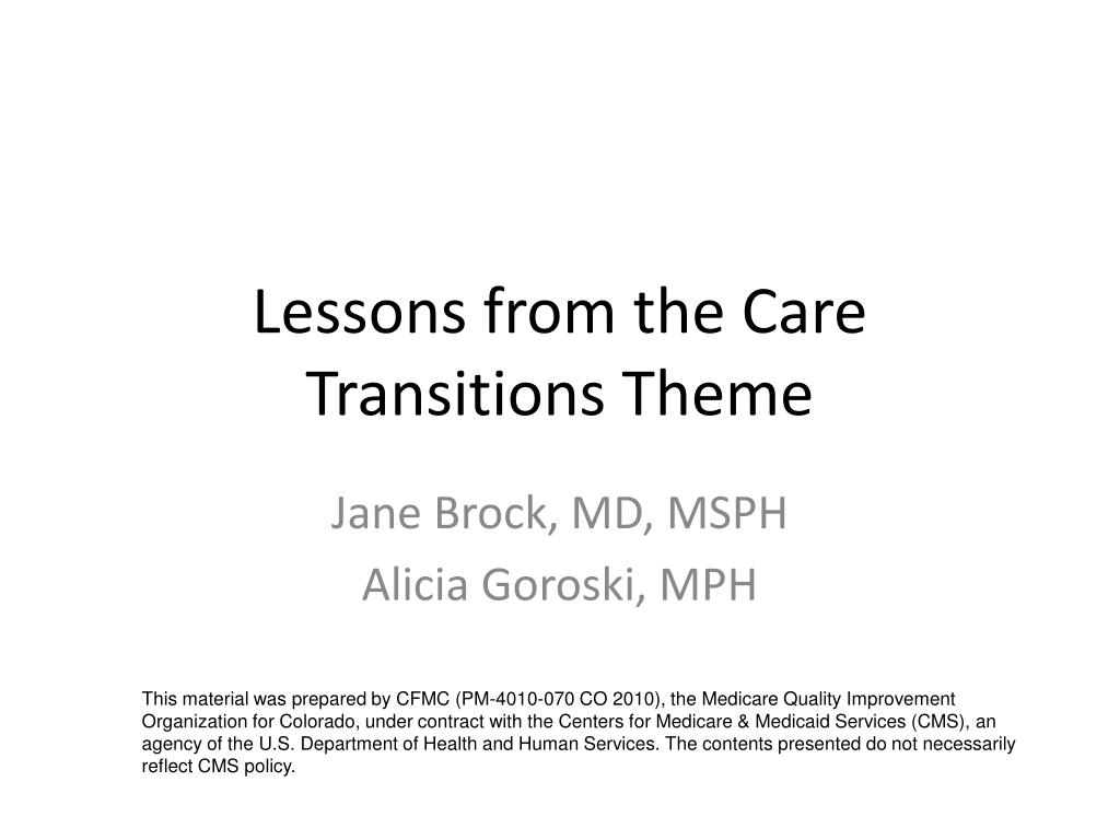 lessons from the care transitions theme