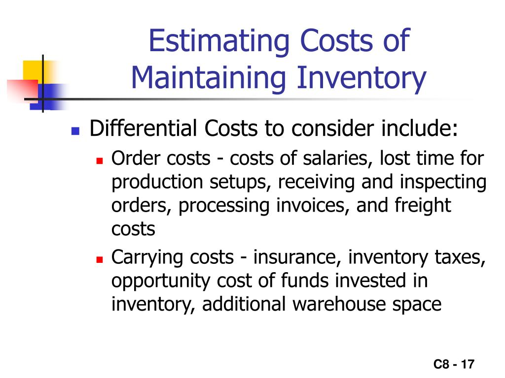 Estimating Costs of Maintaining Inventory