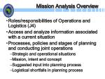 mission analysis overview