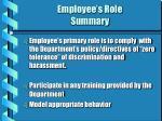employee s role summary