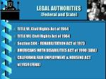 legal authorities federal and state