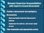 manager supervisor responsibilities with regard to sexual harassment