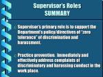 supervisor s roles summary