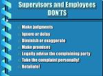 supervisors and employees don ts