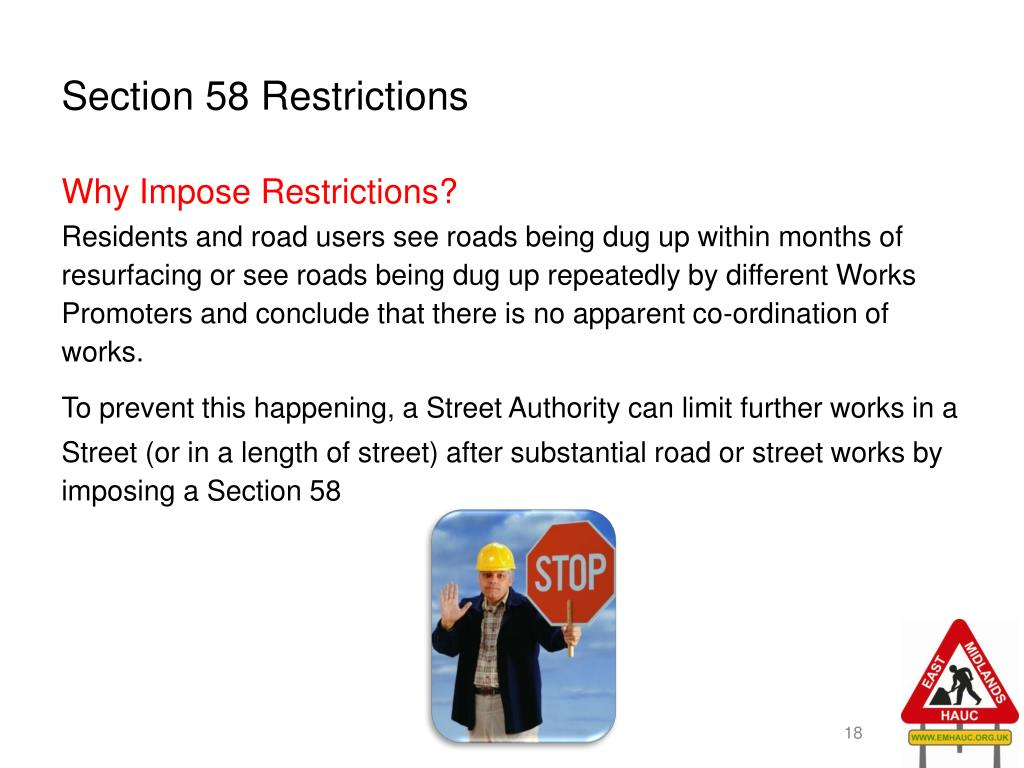 Section 58 Restrictions