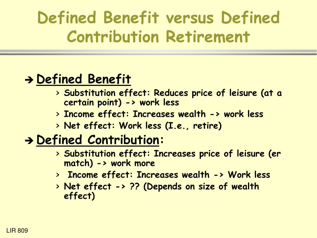 Defined Benefit versus Defined Contribution Retirement