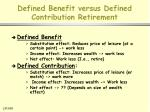 defined benefit versus defined contribution retirement