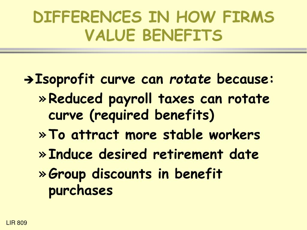 DIFFERENCES IN HOW FIRMS VALUE BENEFITS