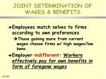 joint determination of wages benefits