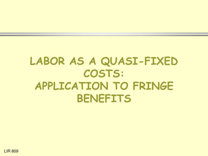 Labor as a quasi fixed costs application to fringe benefits l.jpg