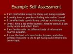 example self assessment