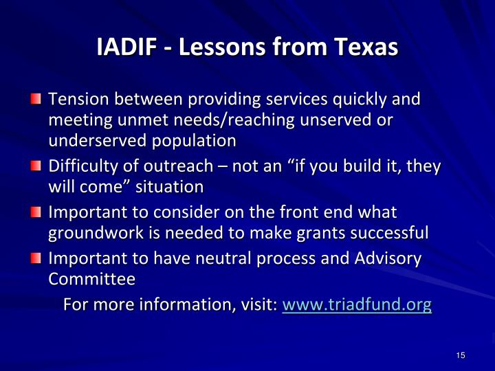 IADIF - Lessons from Texas