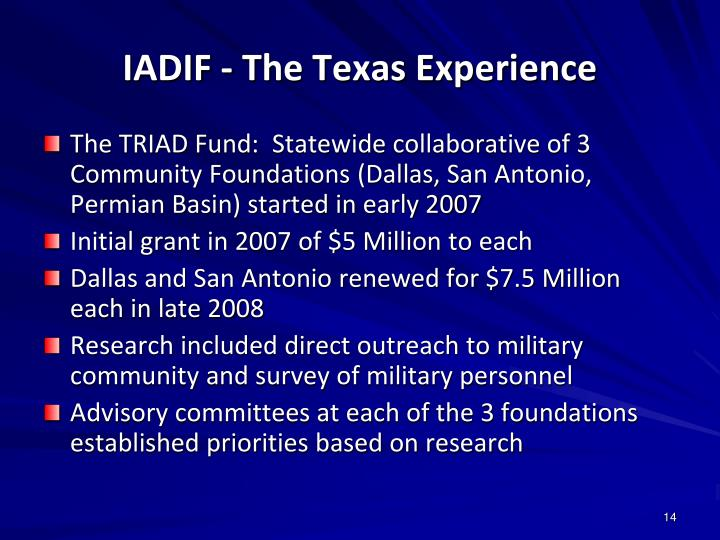 IADIF - The Texas Experience