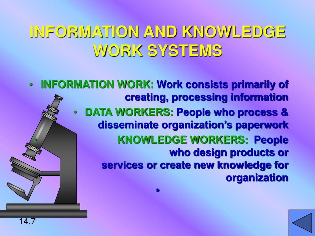 INFORMATION AND KNOWLEDGE WORK SYSTEMS