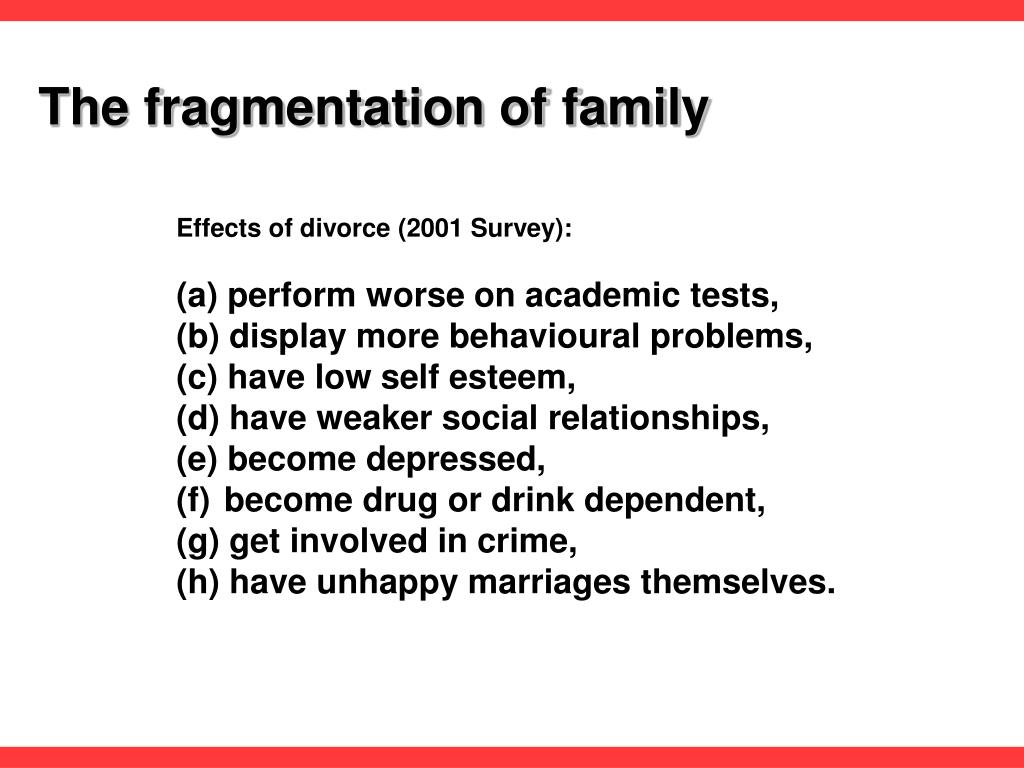 family fragmentation Research on marriage and the family in the united states demonstrates that   conservatively estimated that family fragmentation in the united states cost.