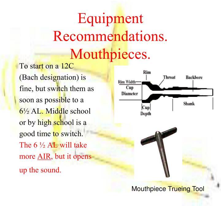 Equipment Recommendations.