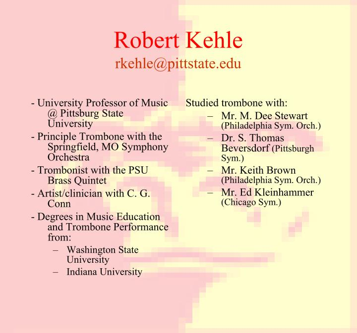 - University Professor of Music @ Pittsburg State University