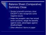 balance sheet comparative summary close