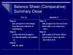 balance sheet comparative summary close30