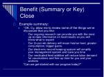benefit summary or key close28