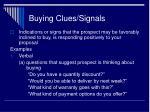 buying clues signals
