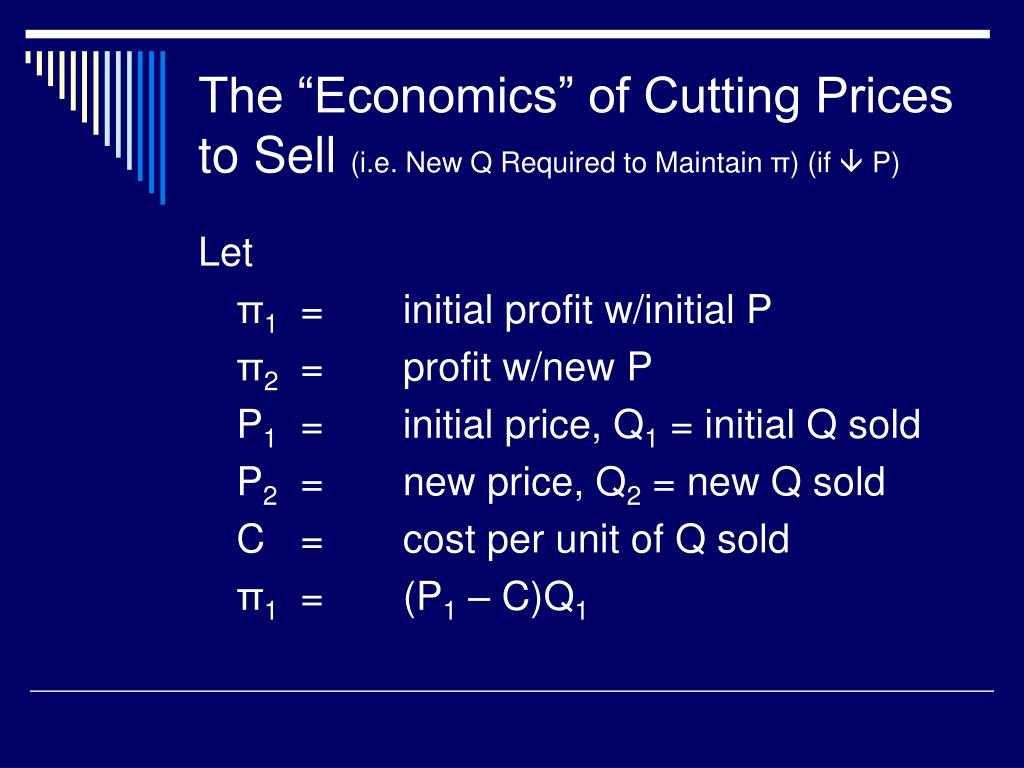 "The ""Economics"" of Cutting Prices to Sell"