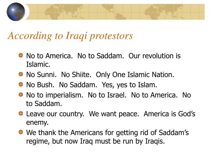 According to Iraqi protestors