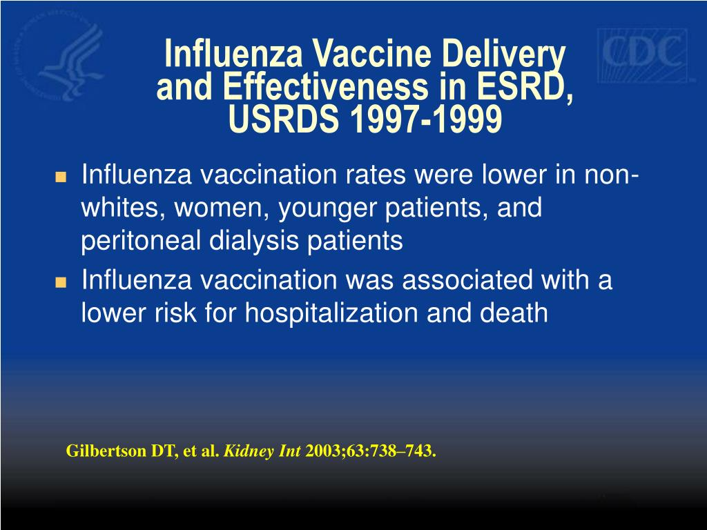 Influenza Vaccine Delivery and Effectiveness in ESRD, USRDS 1997-1999