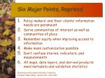six major points reprised
