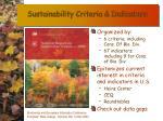 sustainability criteria indicators