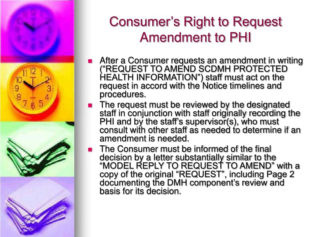 Consumer's Right to Request Amendment to PHI