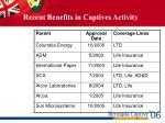 recent benefits in captives activity