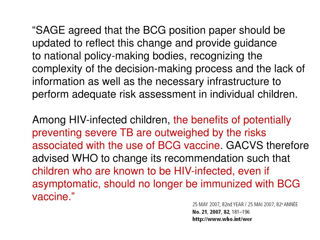 """SAGE agreed that the BCG position paper should be"
