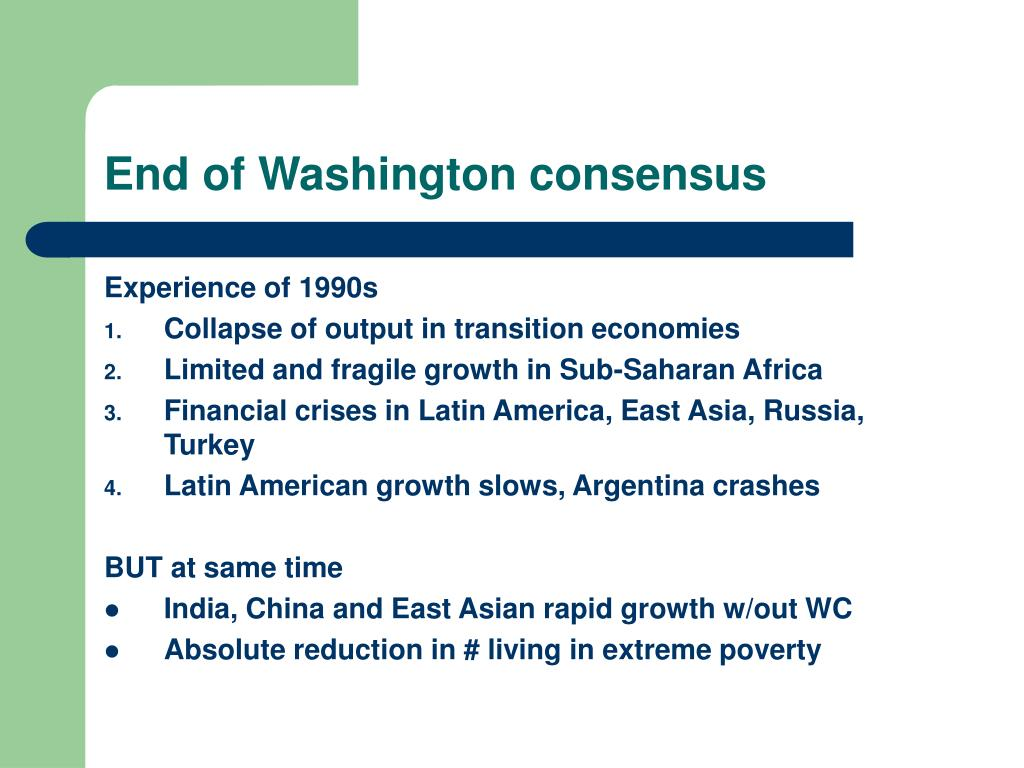 End of Washington consensus