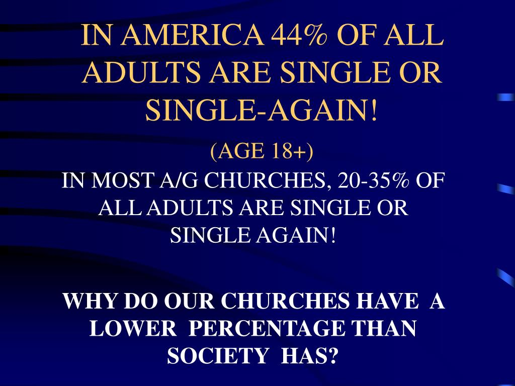 IN AMERICA 44% OF ALL ADULTS ARE SINGLE OR SINGLE-AGAIN!