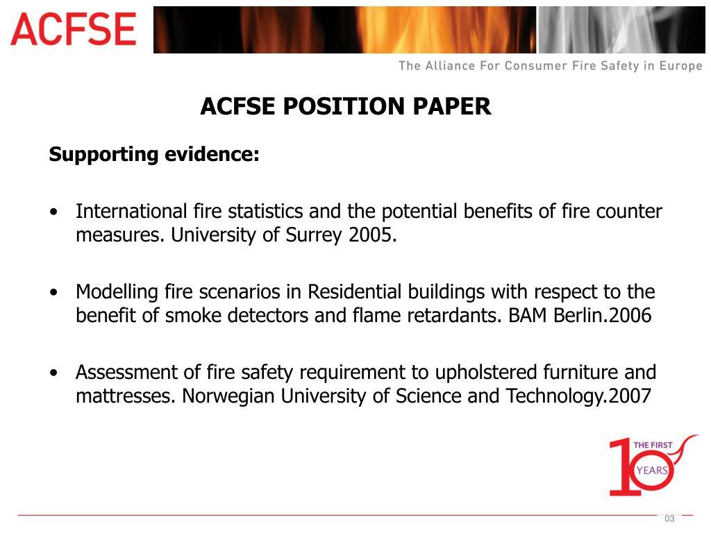 ACFSE POSITION PAPER
