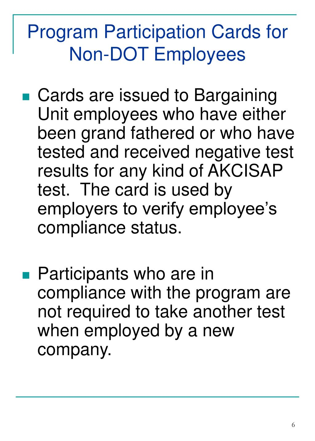 Program Participation Cards for Non-DOT Employees