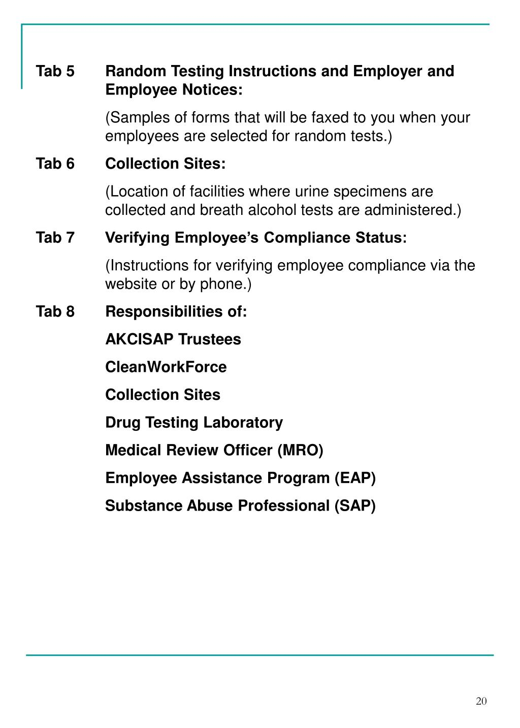 Tab 5Random Testing Instructions and Employer and Employee Notices: